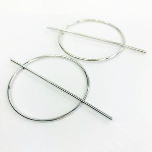 CLOSET REHAB Jewelry - RESTOCKED Silver Hoop with Vertical Geo Bar